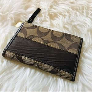 COACH signature coin purse card wallet legacy strp